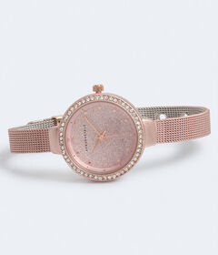 Aeropostale Glittery Metal Mesh Analog Watch***