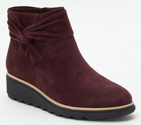 """As Is"" Clarks Collection Suede Ankle Boots with B"