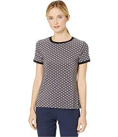 Anne Klein Printed ITY Button Back Top