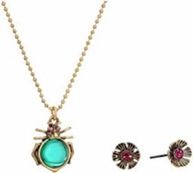 Betsey Johnson Bug Pendant Necklace & Flower Stud