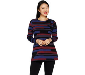 Denim & Co. Striped Perfect Jersey Round Neck Long