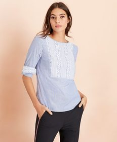 Brooks Brothers Embroidered Striped Cotton Poplin