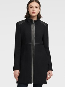 Donna Karan STAND COLLAR COAT WITH FAUX LEATHER TR