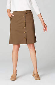 Ponte Knit Button-Front Skirt