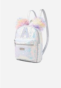 Justice Flip Sequin Pompom Initial Mini Backpack