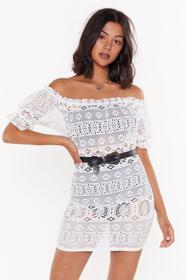 Nasty Gal Womens Ivory Day Off-the-Shoulder Croche