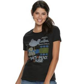 Juniors' Woodstock Guitar & Bird Logo Boyfriend te