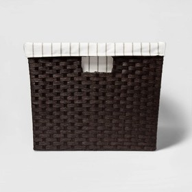 """Lined Laundry Basket Dark Brown Weave 12""""x16""""x20"""""""