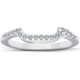 Pompeii3 1/6ct Curved Notched Diamond Wedding Ring