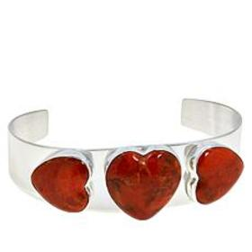 Jay King Sterling Silver Orange Coral Heart Cuff