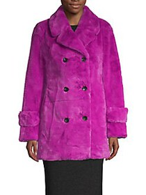 Betsey Johnson Double-Breasted Faux Fur Coat FUCHS