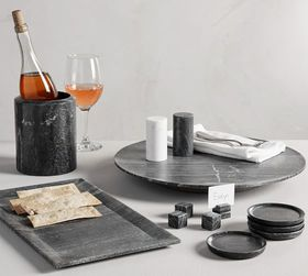 Pottery Barn Black Marble Serveware Collection