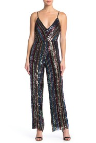 bebe V-Neck Cowl Back Sequin Jumpsuit