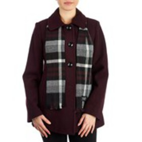 LONDON FOG Petite Wool Blend Peacoat with Scarf