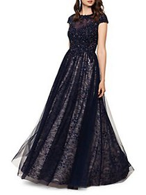 Xscape Embellished Floral Lace Sheer Gown NAVY NUD