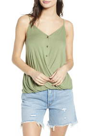 ALL IN FAVOR Twist Button Front Tank Top