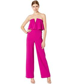 Bebe Scuba Crepe Strapless Jumpsuit with V Notch