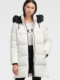 Donna Karan LONGLINE PUFFER WITH FAUX FUR HOOD