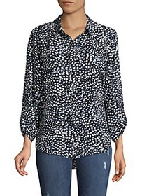 JONES NEW YORK Printed High-Low Shirt BLUE MULTI