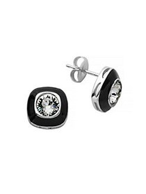 Lord & Taylor Crystal Stud Earrings SILVER