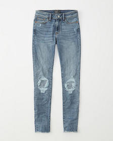 Mid Rise Super Skinny Jeans, LIGHT RIPPED WASH