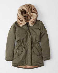 Faux Fur Hooded Parka, OLIVE GREEN