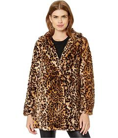 Steve Madden Print Faux Fur Coat w\u002F Notched C