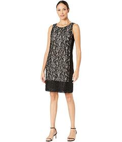 Nine West Sequin Lace Two-Tone Sleeveless Panel He