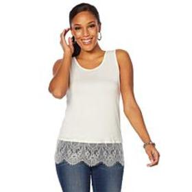 """As Is"" Colleen Lopez Lace-Trim Tank"