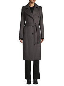 JONES NEW YORK Belted Wool-Blend Wrap Coat CHARCOA