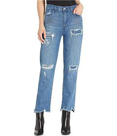 J Brand Jules High-Rise Straight in Indigo Adorned
