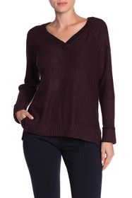Democracy Rolled Rib Cuff V-Neck Heathered Sweater