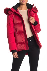 Nine West Faux Fur Trimmed Quilted Puffer Jacket