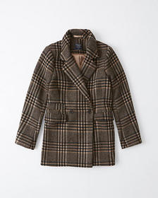 Wool-Blend Blazer Coat, BLACK AND TAN PLAID