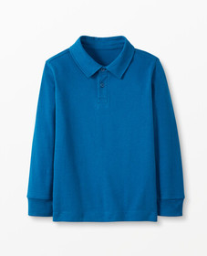 Hanna Andersson Sueded Jersey Polo in Baltic Blue
