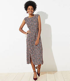 Petite Vine Cap Sleeve Midi Dress
