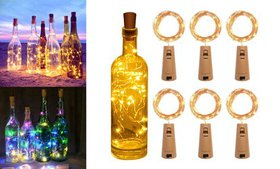 6 Pack Copper Wire Wine Bottle Cork Lamp Fairy Str