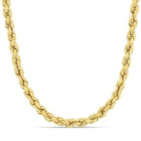 AmourFashion 22 Inch Rope Chain Necklace in 14k Ye