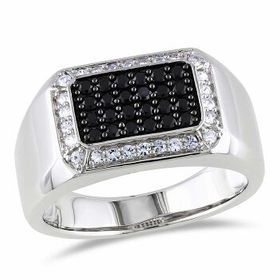 AmourSterling Silver Black Spinel and White Sapphi
