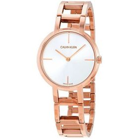 Calvin KleinCheers Silver Dial Rose Gold PVD Ladie