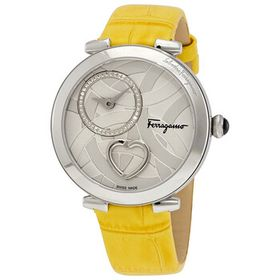 FerragamoCuore Silver Dial Ladies Yellow Leather W