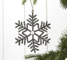 Pottery Barn Silver Beaded Snowflake Ornament