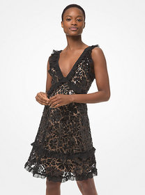 Michael Kors Sequined Lace Ruffle-Trim Dress