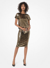 Michael Kors Sequined Leopard Top