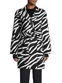 JONES NEW YORK Zebra Printed Belted Wrap Coat ZEBR