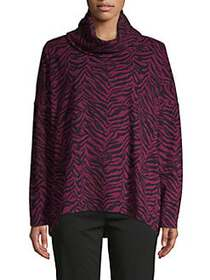 JONES NEW YORK Zebra Printed Cowlneck Top BURGUNDY