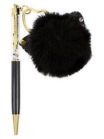 Betsey Johnson Black Pen with Fuzzy Kitty Charm in