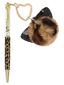 Betsey Johnson Leopard Pen with Fuzzy Kitty Charm