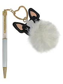 Betsey Johnson White Pen with Fuzzy French Bulldog