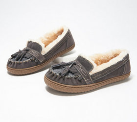 """As Is"" Earth Origins Suede Slippers with Tassels"